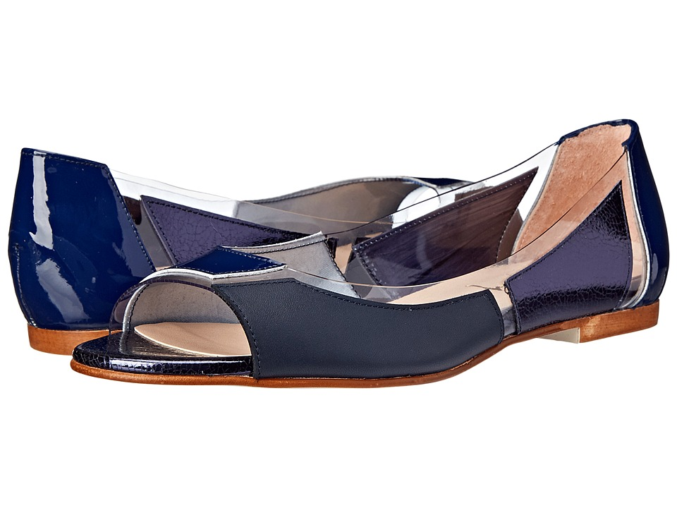 French Sole - Nisim (Navy Patent/Nappa/Foil w/ Foil) Women's Flat Shoes