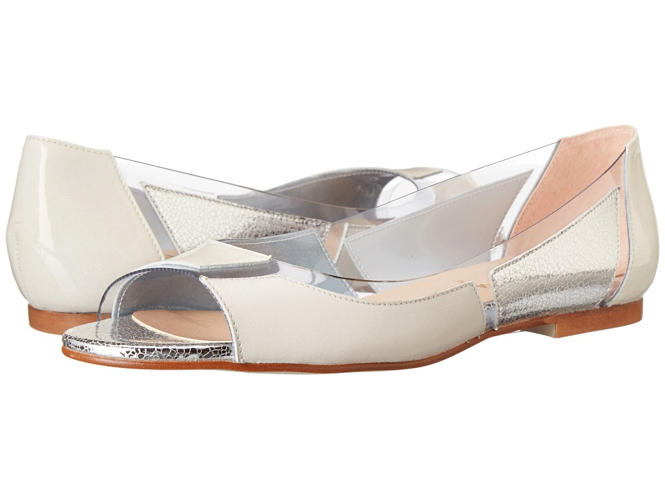French Sole - Nisim (Off White Patent/Nappa/Silver) Women's Flat Shoes