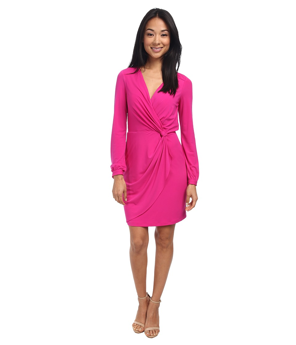 Jessica Simpson - L/S Wrap Front Ity Dress JS5U7057 (Pink) Women's Dress