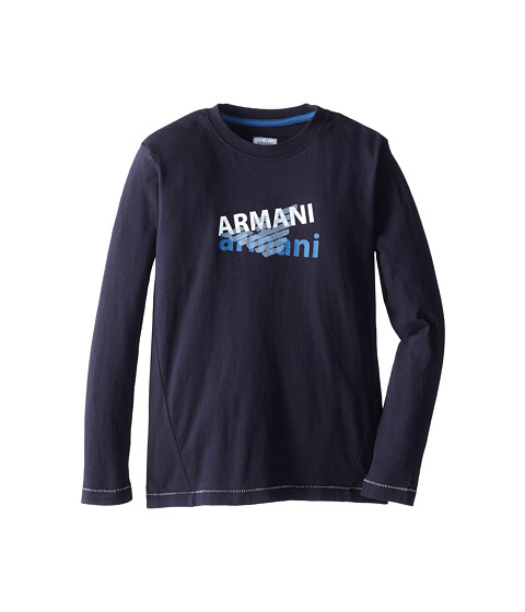 Armani Junior - Long Sleeve Navy Logo Tee (Big Kids) (Indigo) Boy's Long Sleeve Pullover