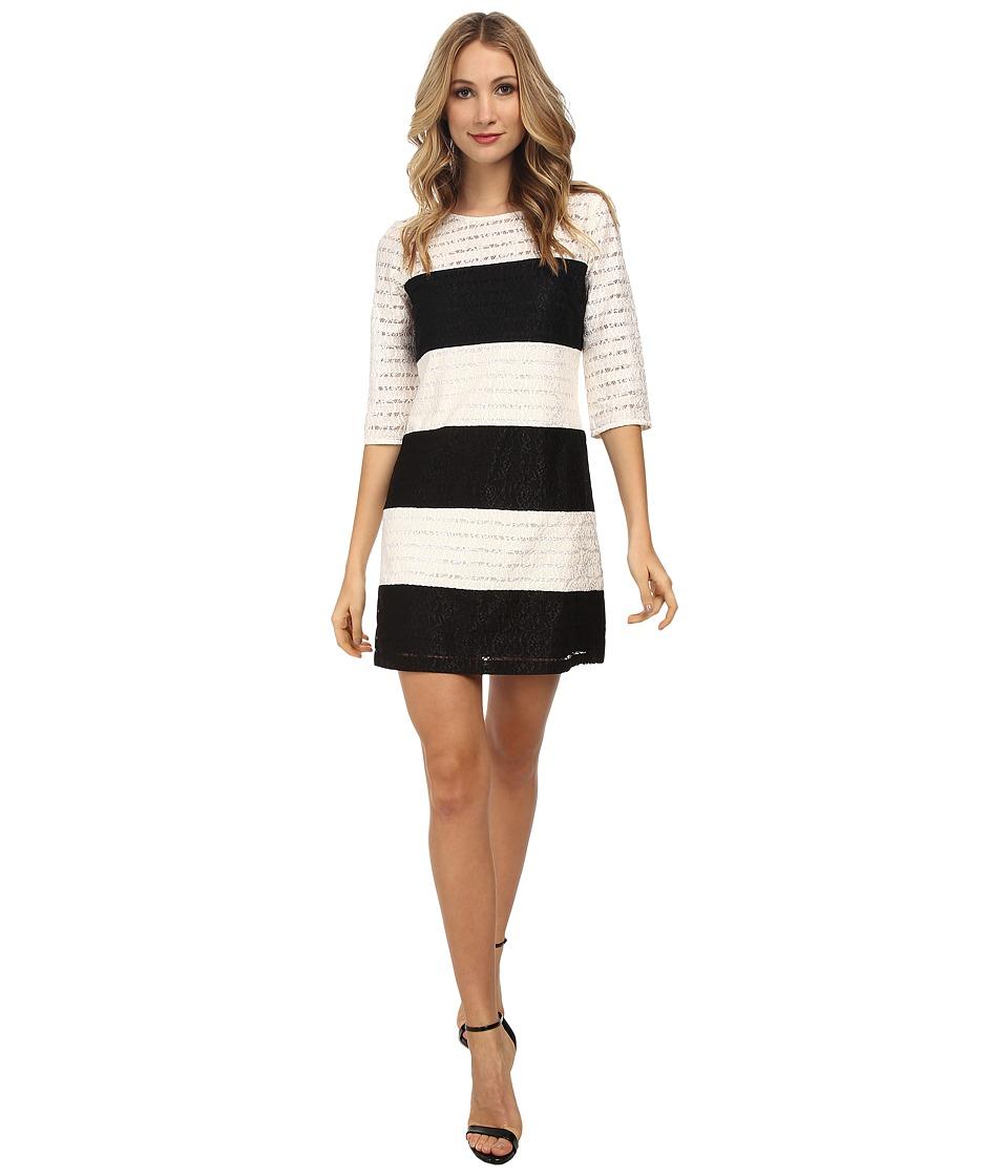 Jessica Simpson Color Block Lace Shift Dress JS5M7050 (Black/Ivory) Women