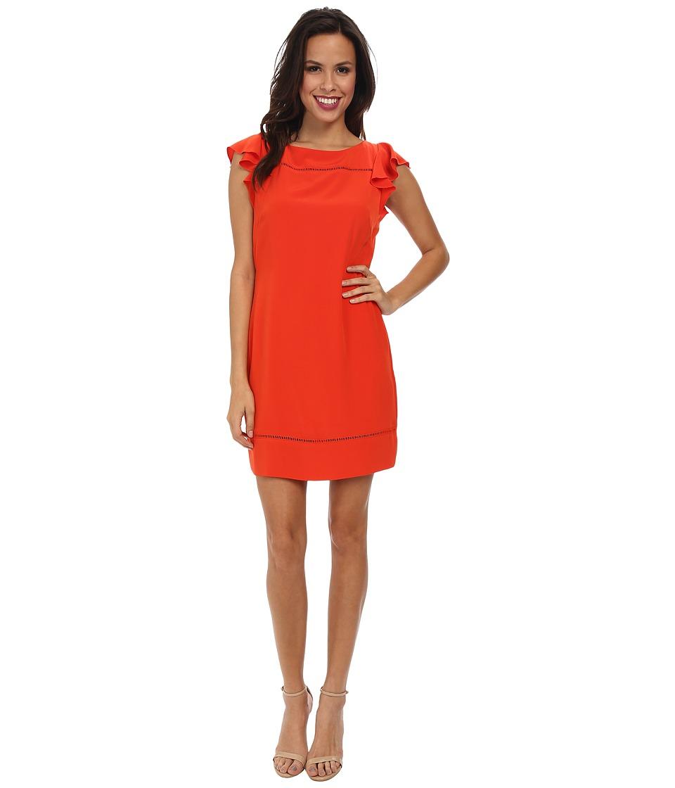 Jessica Simpson Flounce Ruffle Dress JS5E7140 (Cherry Red) Women
