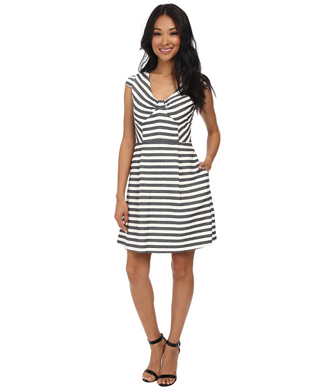 Jessica Simpson - Cap Sleeve Stripe Fit Flare Dress JS5M7039 (White/Navy) Women's Dress