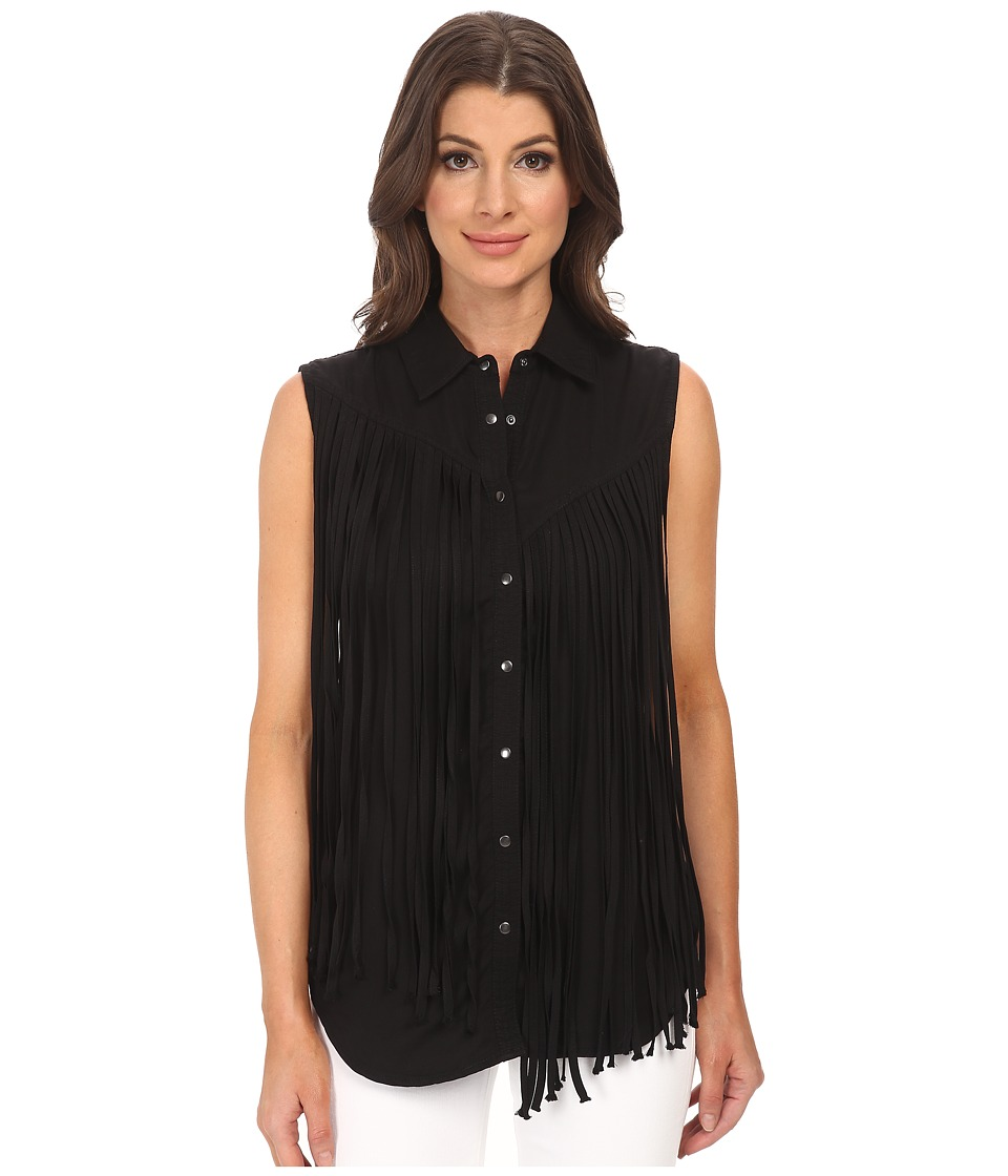 Blank NYC - Black Fringe Sleeveless Shirt (Fringe Benefits) Women's Blouse