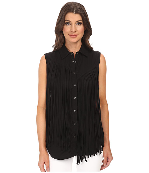 Blank NYC - Black Fringe Sleeveless Shirt (Fringe Benefits) Women