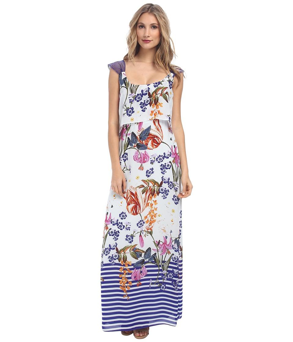 Jessica Simpson Popover Maxi Dress JS5V6927 (Petunia Print) Women