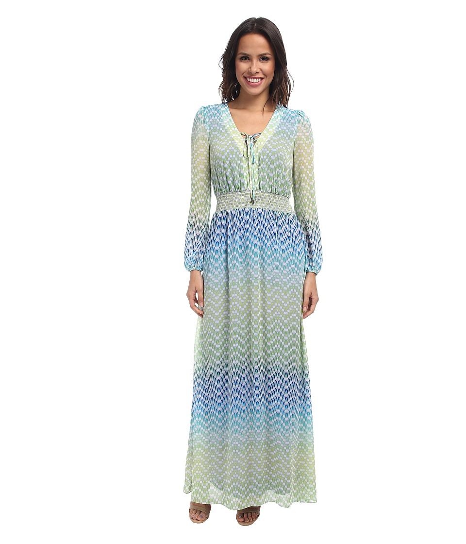 Jessica Simpson - L/S Peasant Maxi Dress (Suzanne Print) Women
