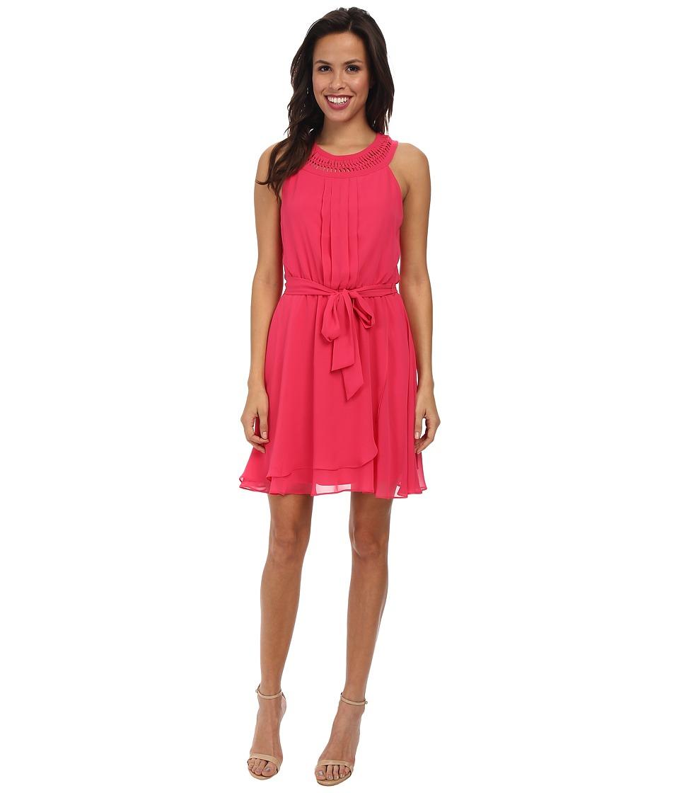 Jessica Simpson Braided Neck Chiffon Dress JS5U7058 (Sparkling Cosmo) Women