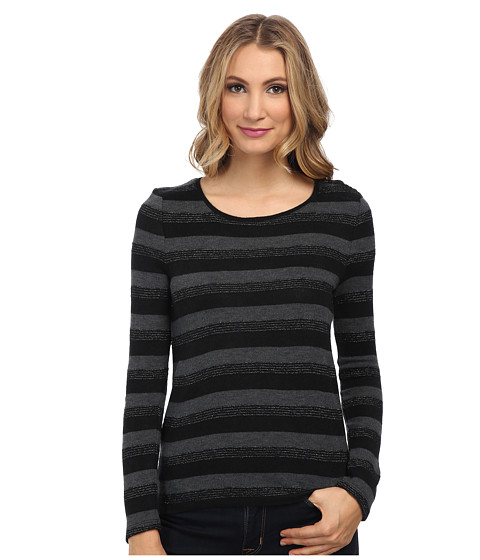 Jones New York - L/S Open Crew Neck Striped Pullover (Black Multi) Women's Long Sleeve Pullover
