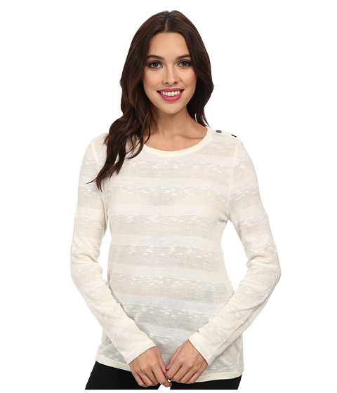 Jones New York - L/S Open Crew Neck Striped Pullover (Creme Multi) Women