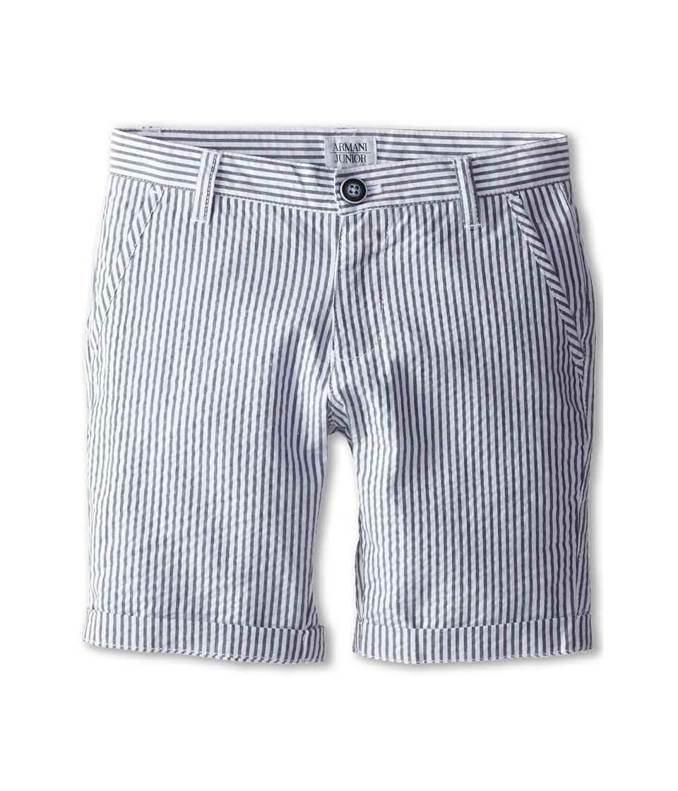Armani Junior - Seersucker Short in Blue/White (Big Kids) (Stripe) Boy's Shorts