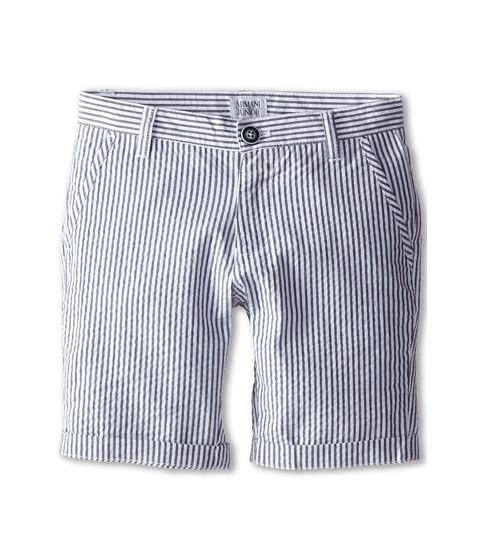 Armani Junior - Seersucker Short in Blue/White (Big Kids) (Stripe) Boy