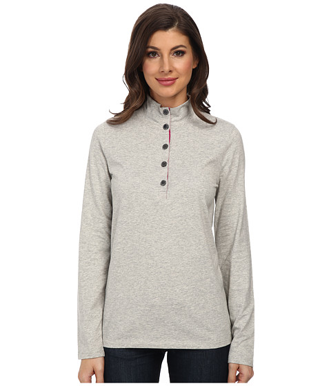 Jones New York - L/S Mock Neck Solid Pullover (Light Heather Grey) Women's Long Sleeve Pullover