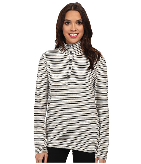 Jones New York - L/S Mock Neck Striped Pullover (Light Heather Grey) Women