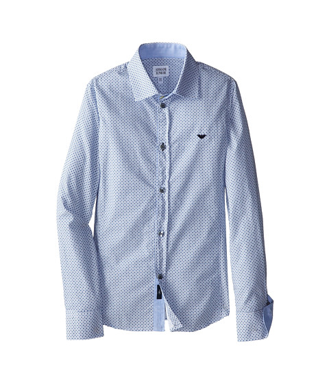 Armani Junior - Dotted Pattern Button Down Shirt w/ Dark Collar Contrast (Big Kids) (Patterned) Boy