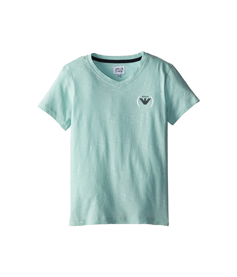 Armani Junior - Short Sleeve Mint Tee w/ Faded Stripe (Big Kids) (Light Green) Boy