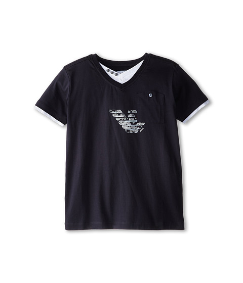 Armani Junior - Short Sleeve V-Neck w/ Paisley Logo (Big Kids) (Indigo) Boy's Short Sleeve Pullover