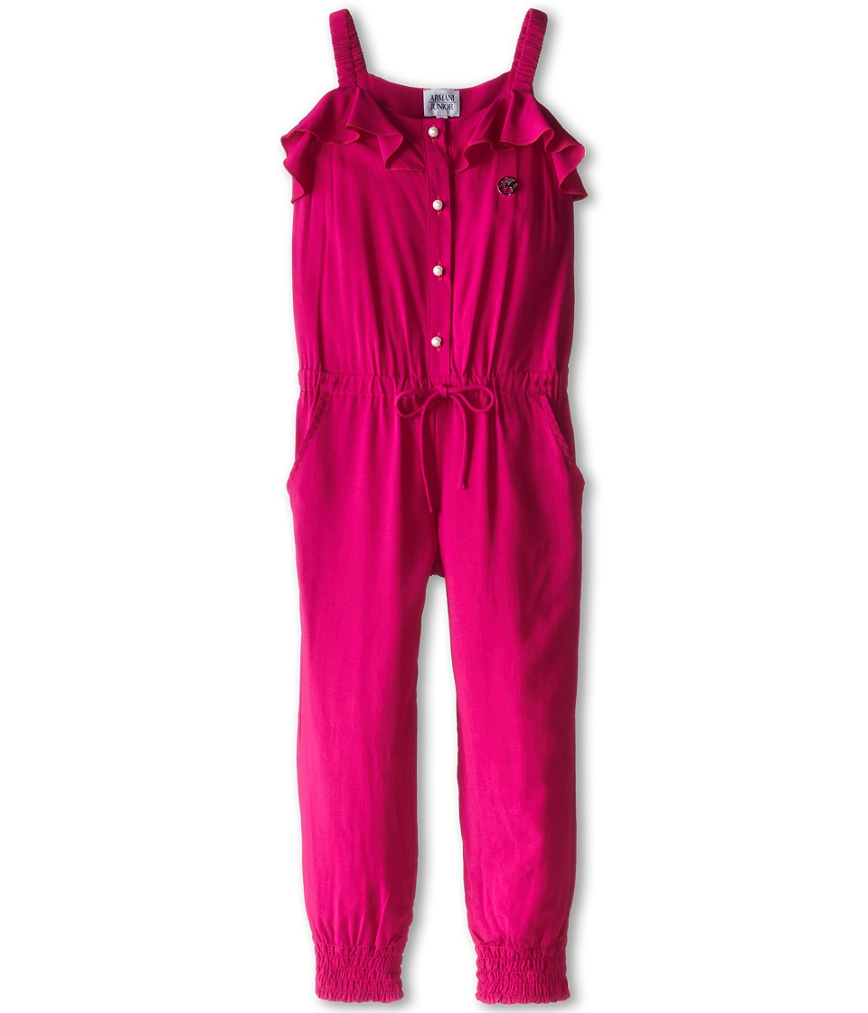 Armani Junior - Jumpsuit w/ Pearl Button Details (Toddler/Little Kids) (Fuchsia) Girl's Jumpsuit & Rompers One Piece