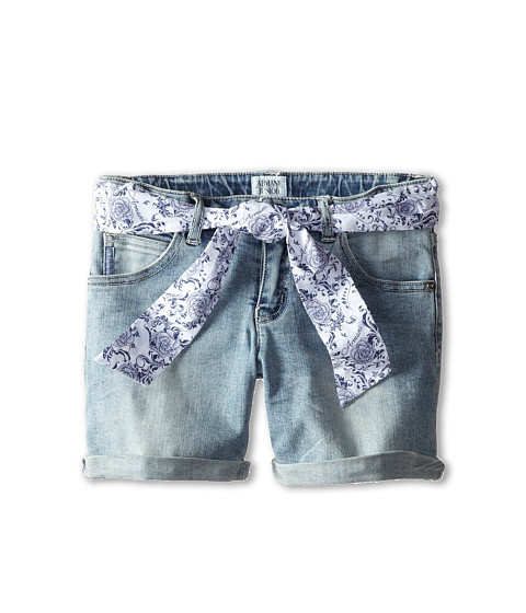 Armani Junior - Denim Short w/ Floral Belt (Toddler/Little Kids) (Denim) Girl