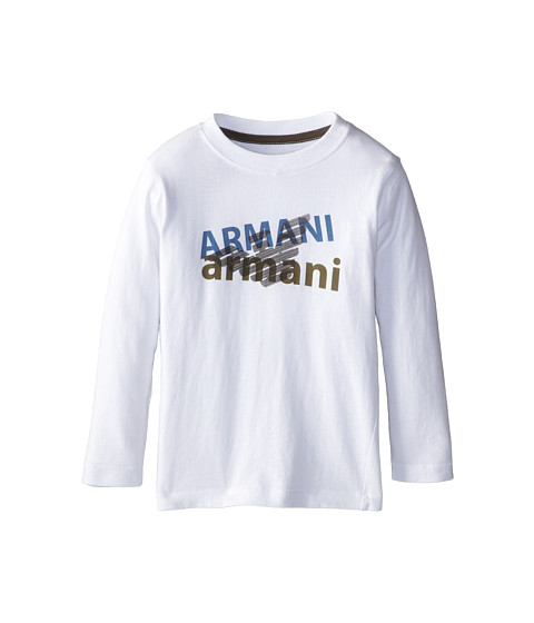 Armani Junior - Long Sleeve Logo Tee (Toddler/Little Kids/Big Kids) (White) Boy's Long Sleeve Pullover