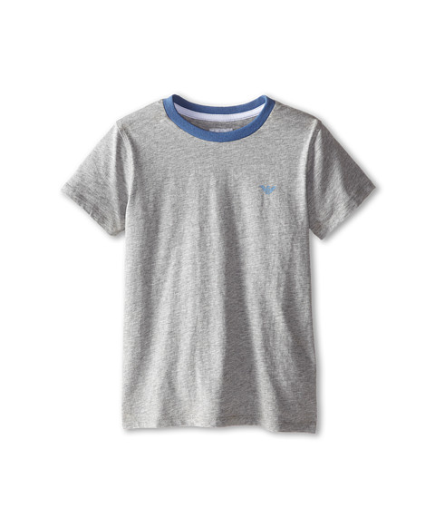 Armani Junior - Short Sleeve Basic Tee w/ Blue Trim (Toddler/Little Kids/Big Kids) (Dark Grey) Boy