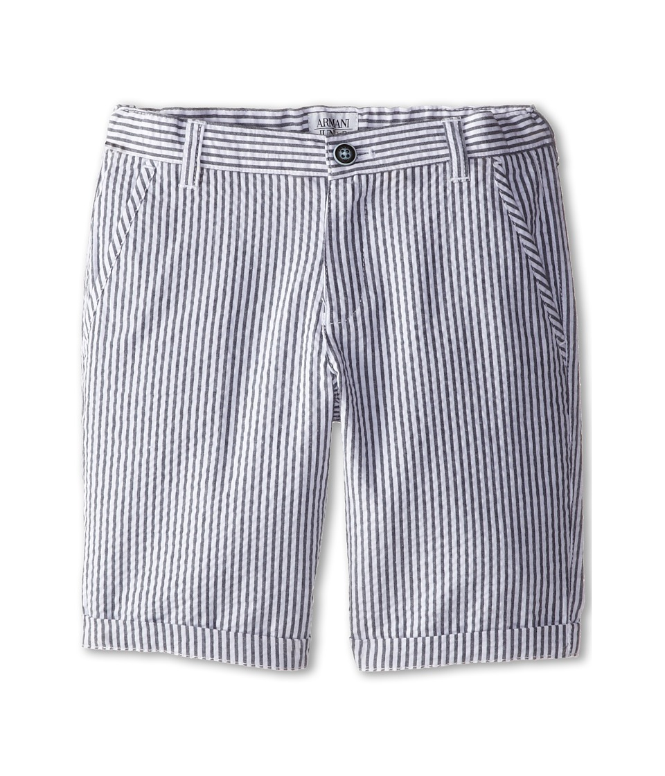 Armani Junior - Seersucker Short in Blue/White (Toddler/Little Kids) (Stripe) Boy
