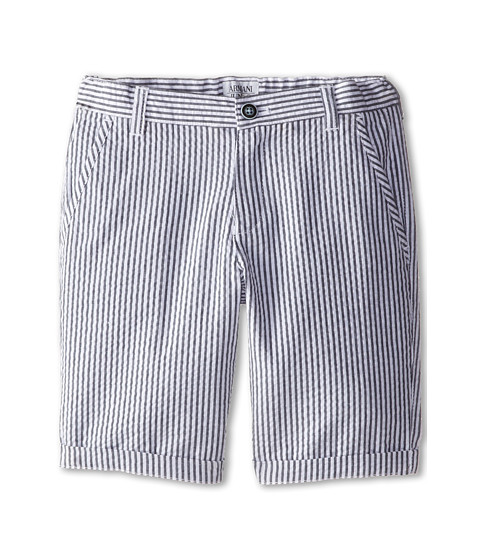 Armani Junior - Seersucker Short in Blue/White (Toddler/Little Kids) (Stripe) Boy's Shorts