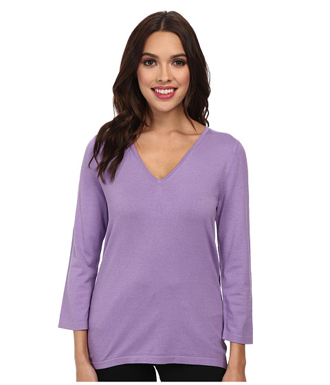 Jones New York - Silk Blend 3/4 Sleeve V-Neck Pullover (Viola) Women's T Shirt