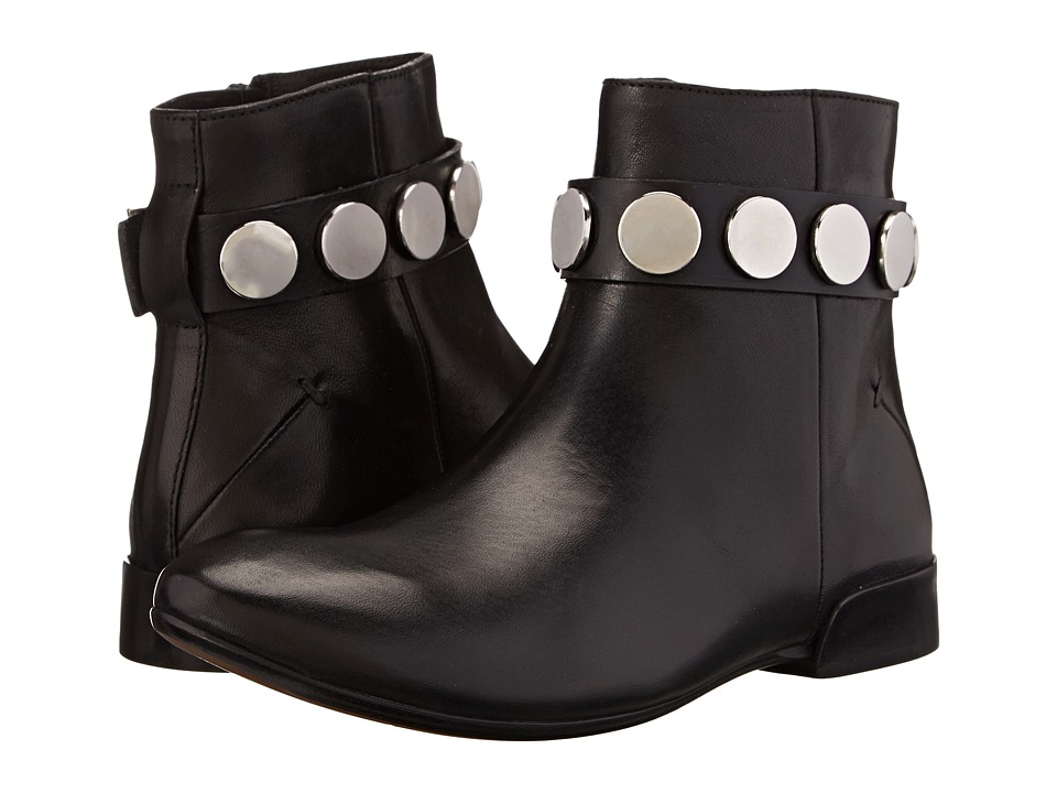 CoSTUME NATIONAL - Flat Bootie w/ Stud Ankle Strap (Black) Women