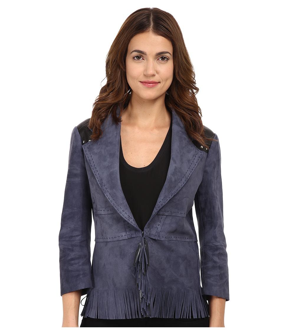 CoSTUME NATIONAL - Suede/Leather Jacket w/ Fringe (Inchiostro) Women's Coat