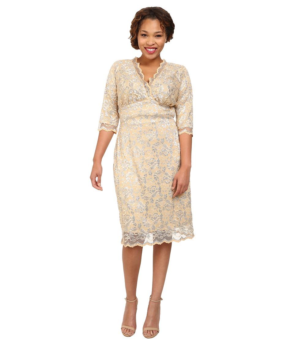 Kiyonna - Scalloped Boudoir Lace Dress (Champagne) Women