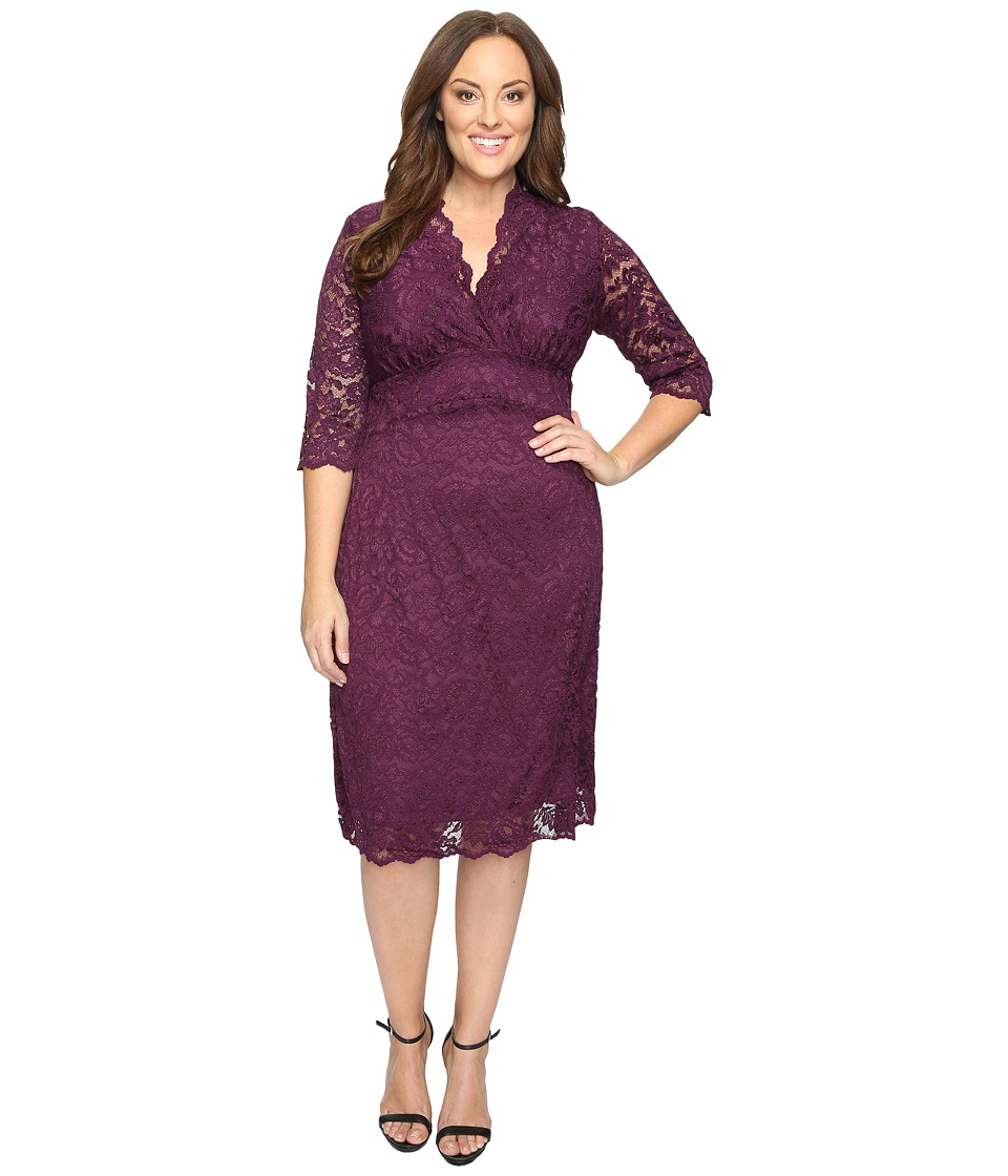 Kiyonna - Scalloped Boudoir Lace Dress (Piercing Plum) Women's Dress