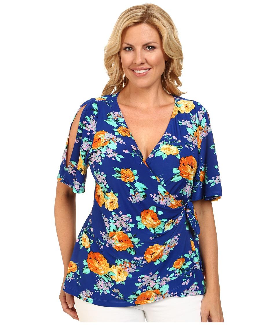 Kiyonna - Wanderlust Wrap Top (Sunset Garden Print) Women's Short Sleeve Pullover