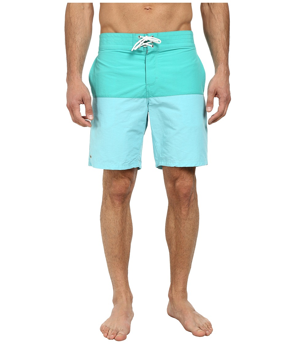 Lacoste - Poplin Color Block Swim Short 8 (Diabolo Green/Corsica Aqua) Men