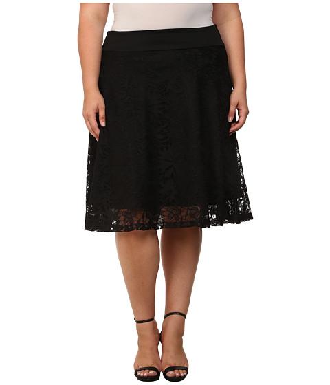 Kiyonna - Matinee Lace Midi Skirt (Onyx) Women's Skirt