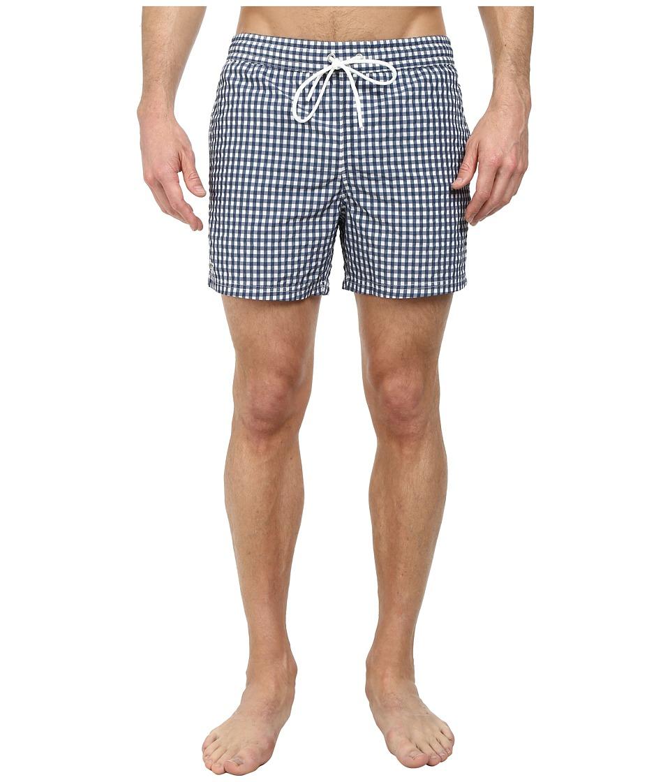 Lacoste - Taffeta Gingham Swim Short 5 (Philippines Blue/White) Men's Swimwear