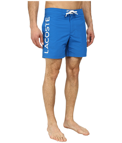 Lacoste - Poplin Logo Swim Short At Leg 6 (Laser/White) Men