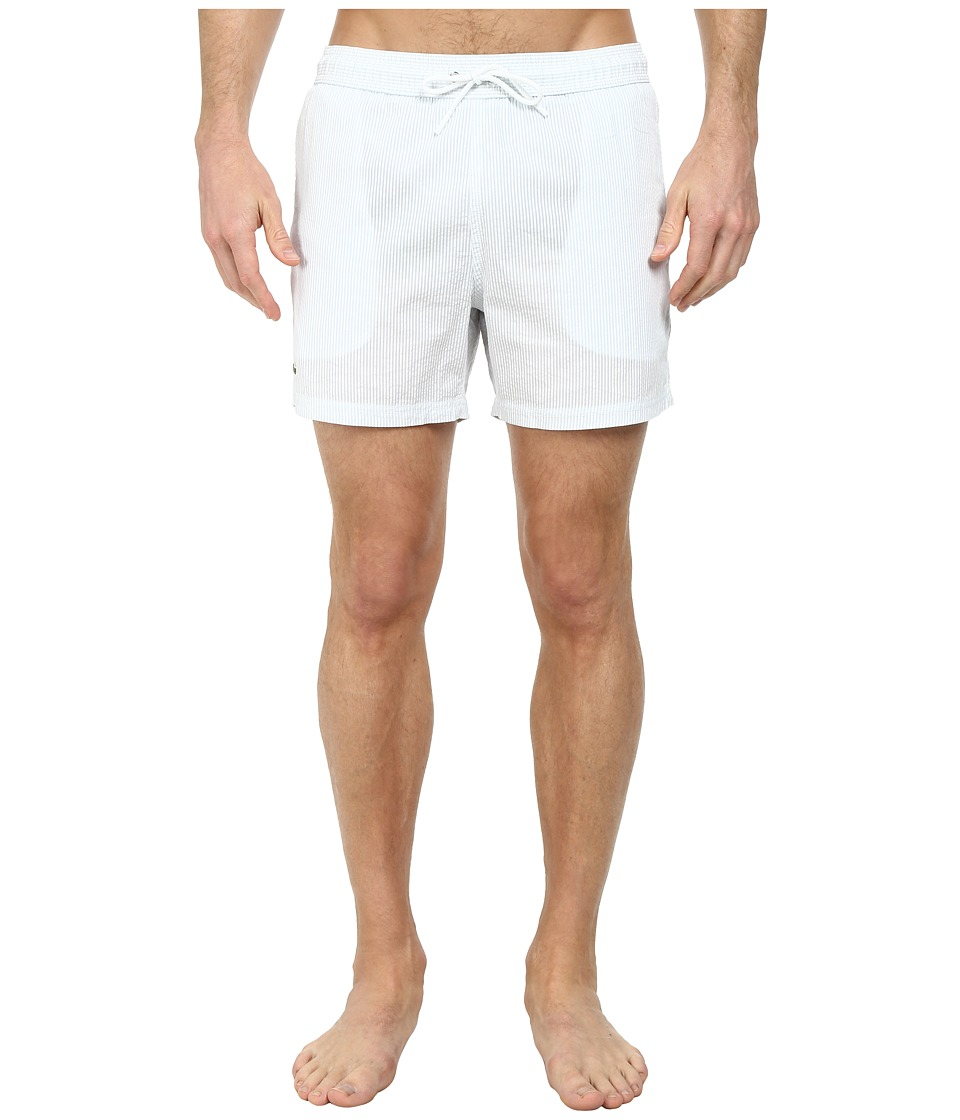 Lacoste - Striped Seersucker Swim Short 5 (Atmosphere/White) Men