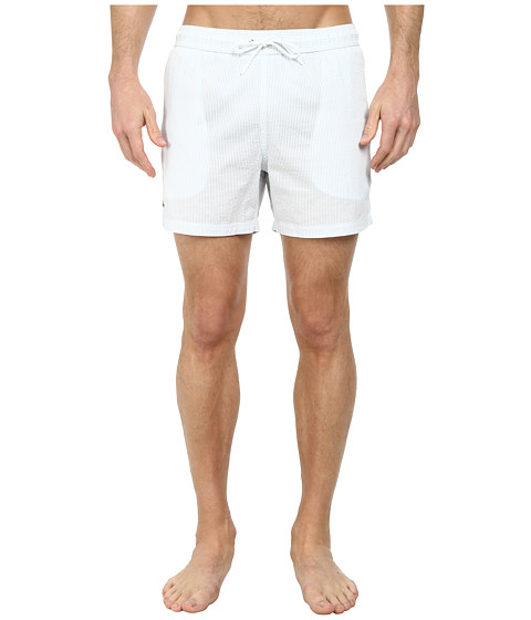 Lacoste - Striped Seersucker Swim Short 5 (Atmosphere/White) Men