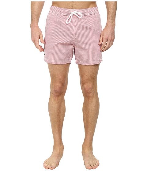 Lacoste - Striped Seersucker Swim Short 5 (Tokyo Red/White) Men's Swimwear