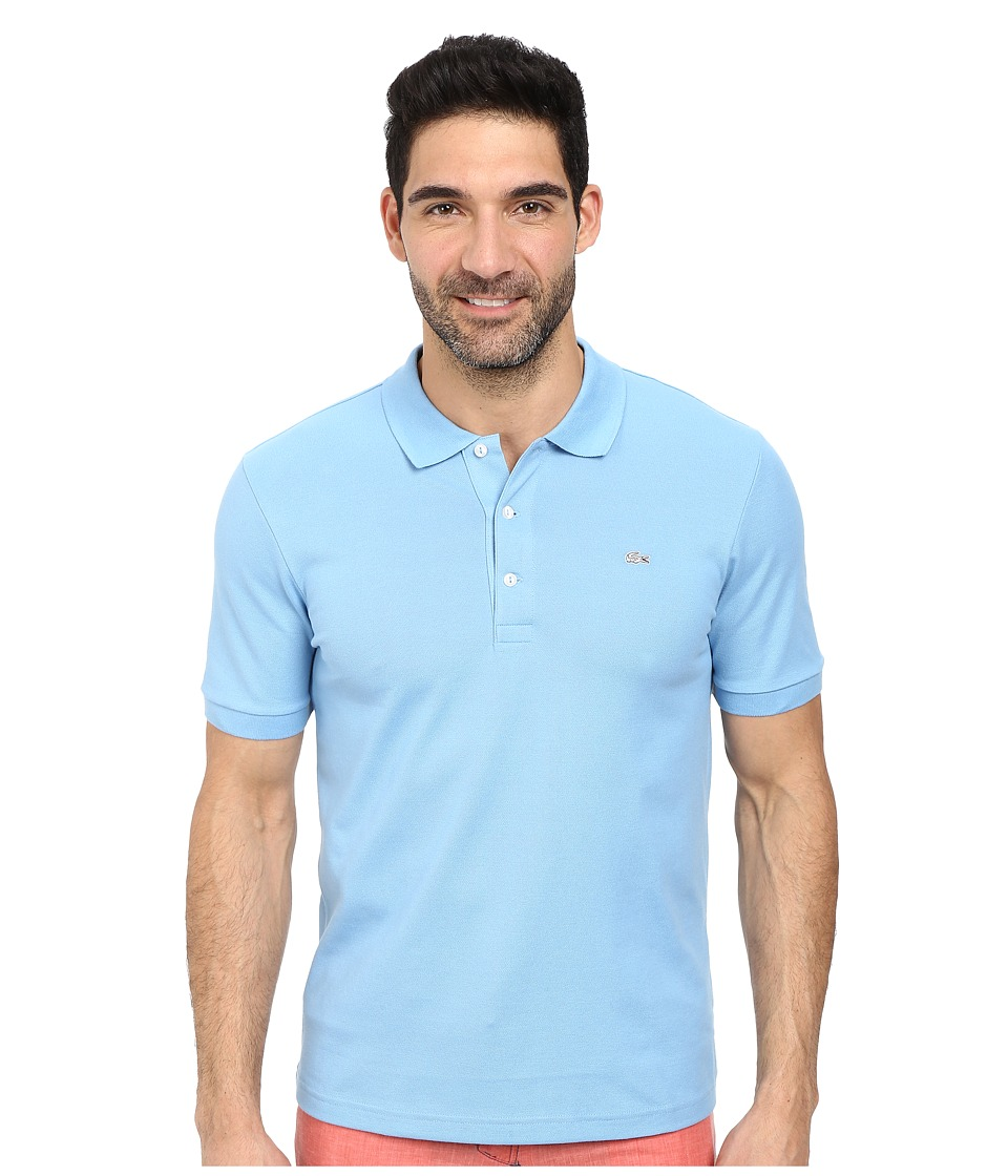 Lacoste - Premium Short Sleeve Slim Fit Stretch Pique Polo Shirt (Naval Blue) Men