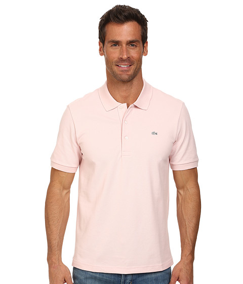 Lacoste - Premium Short Sleeve Slim Fit Stretch Pique Polo Shirt (Silk Pink) Men