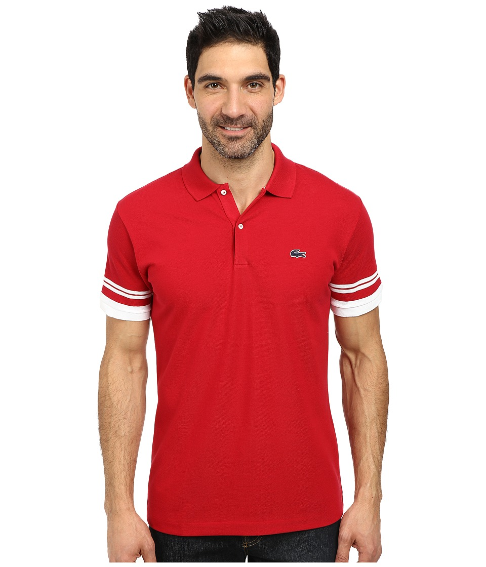 Lacoste - Cotton Pique Semi Fancy Slim Fit Made In France Polo (Tokyo Red/White) Men