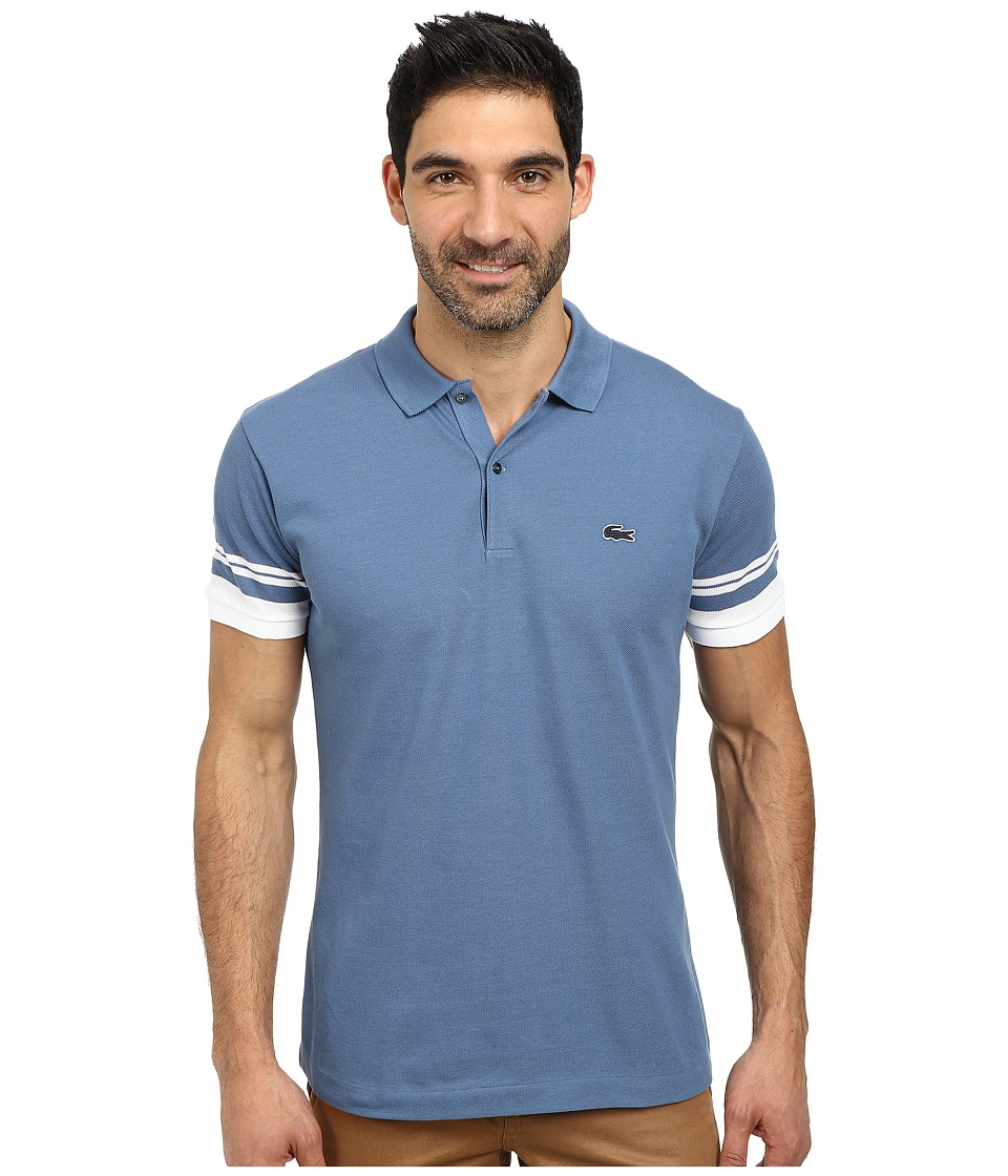 Lacoste - Cotton Pique Semi Fancy Slim Fit Made In France Polo (Admiral Blue/White) Men's Short Sleeve Pullover