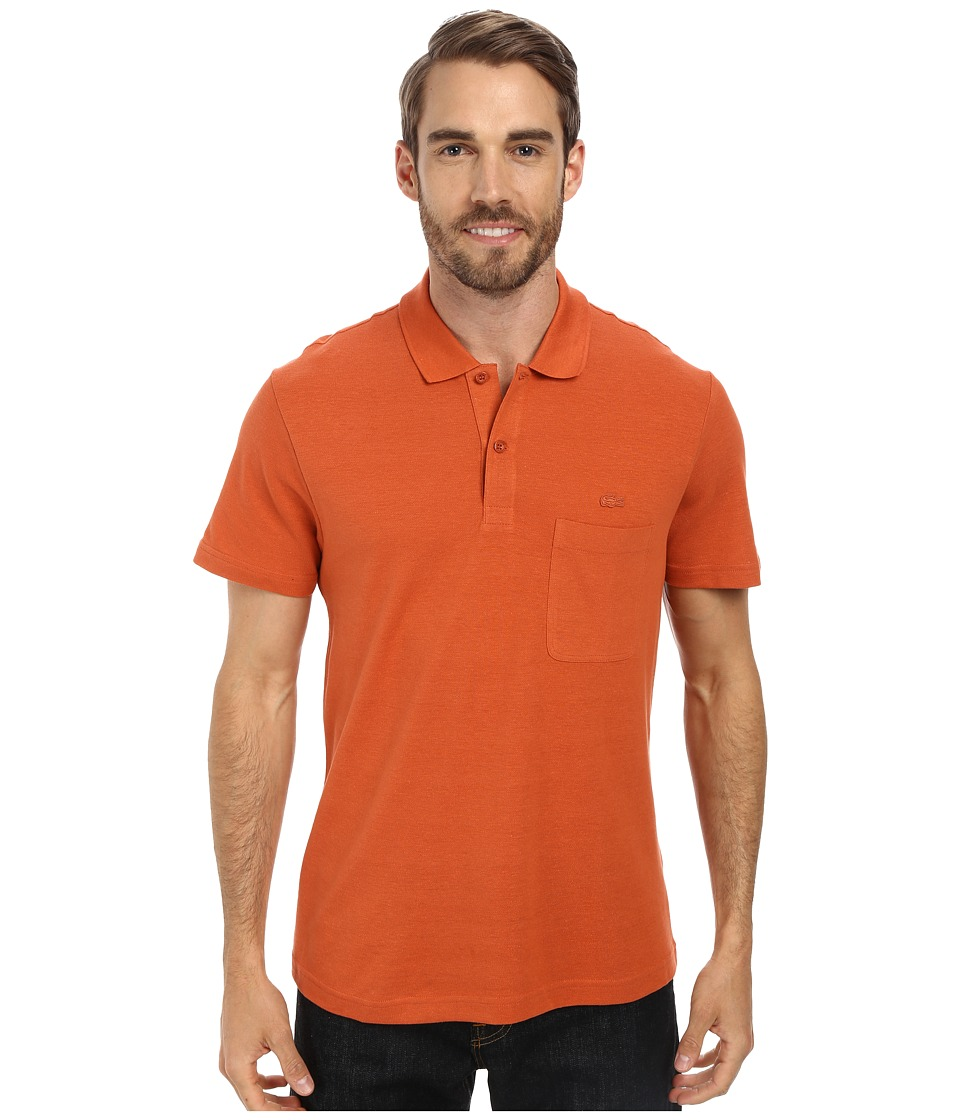 Lacoste - Cotton Linen Polo with Pocket (Fall Orange) Men's Short Sleeve Pullover