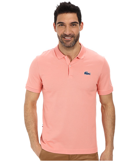 Lacoste - L!Ve Short Sleeve Stretch Pique Croc Polo (Corals/Philippines Blue) Men's Short Sleeve Pullover