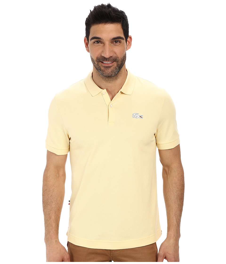 Lacoste - L!Ve Short Sleeve Stretch Pique Croc Polo (Pastis Yellow/Flour) Men's Short Sleeve Pullover