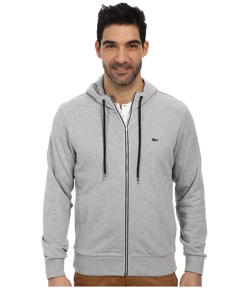Lacoste - Cotton Full Zip Hooded Neo Piping Sweatshirt (Silver Grey Chine/Navy Blue) Men