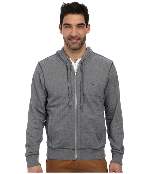 Lacoste - Cotton Full Zip Hooded Sweatshirt (Silver Grey Chine/Navy Blue) Men's Sweatshirt