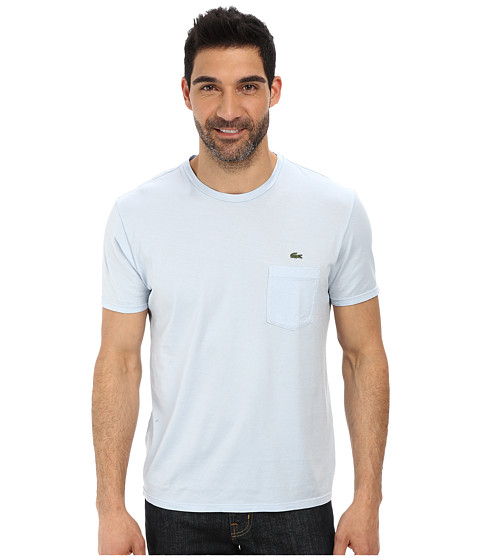 Lacoste - Jersey Super Fine Pima Short Sleeve Crew Neck Tee Shirt with Pocket (Polar Ice Blue) Men